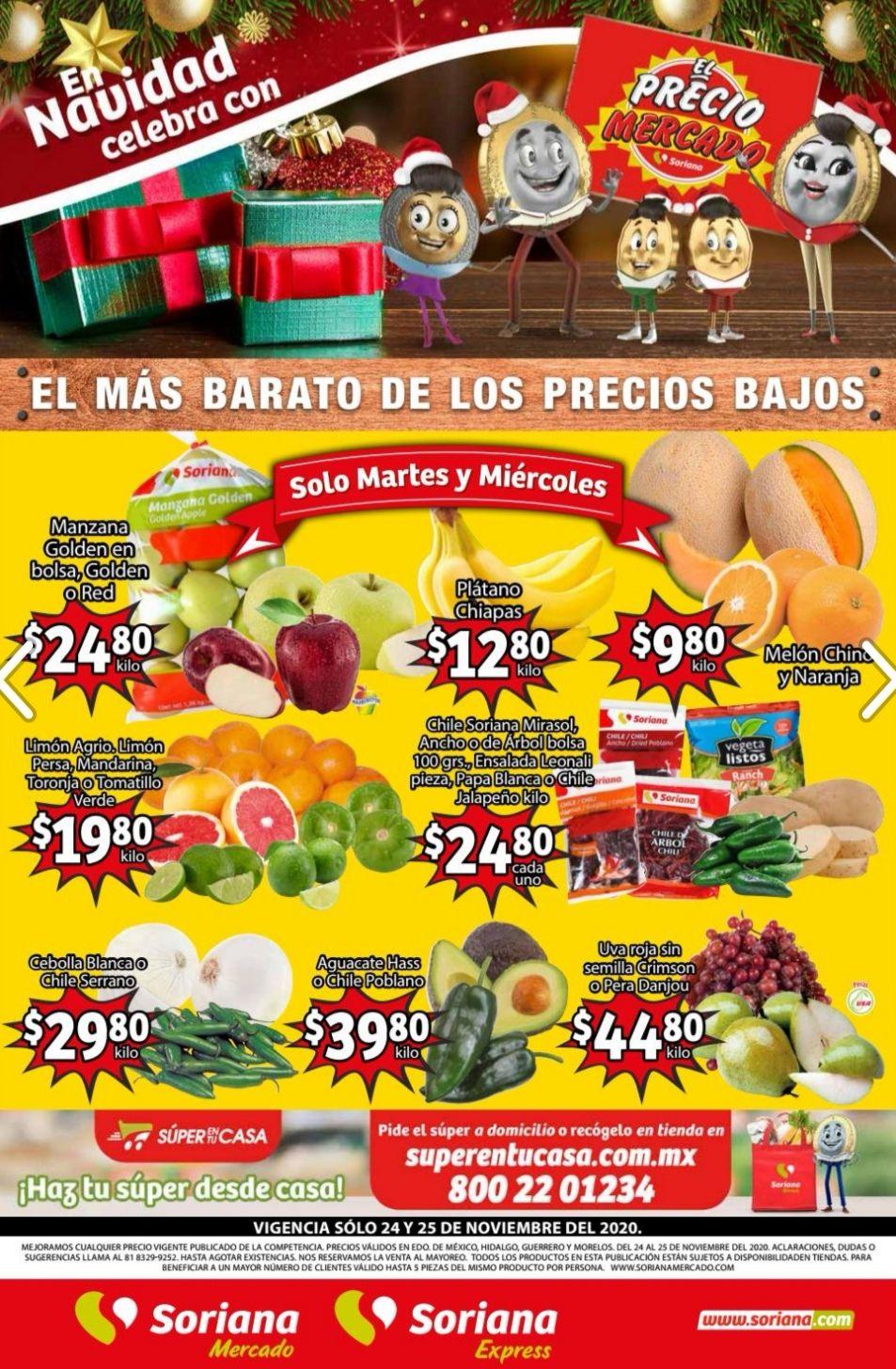 Soriana Mercado y Express: Frescura de Mercado 24 y 25 Noviembre