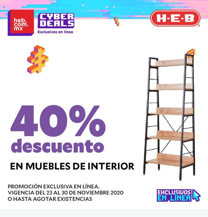 HEB 40% descuento en muebles