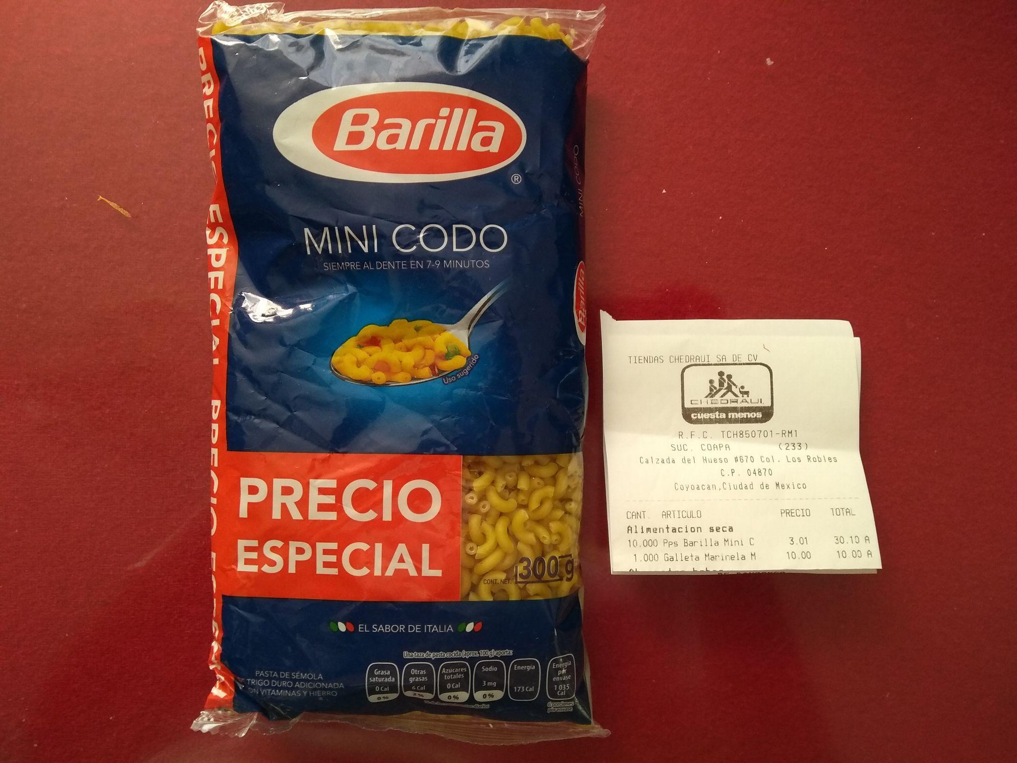 Chedraui Coapa: Pasta para sopa Barilla de coditos