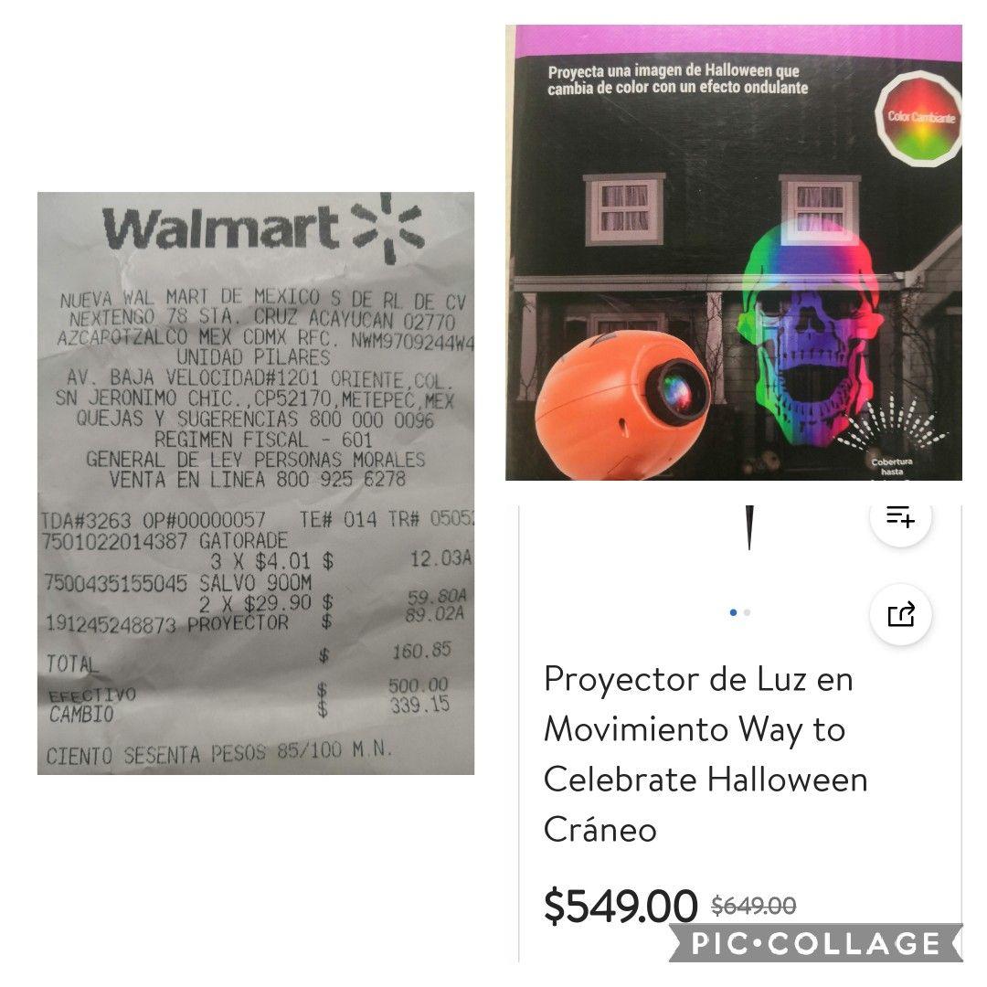 Proyector de luz en movimiento celebrante halloween figura de cráneo en Walmart