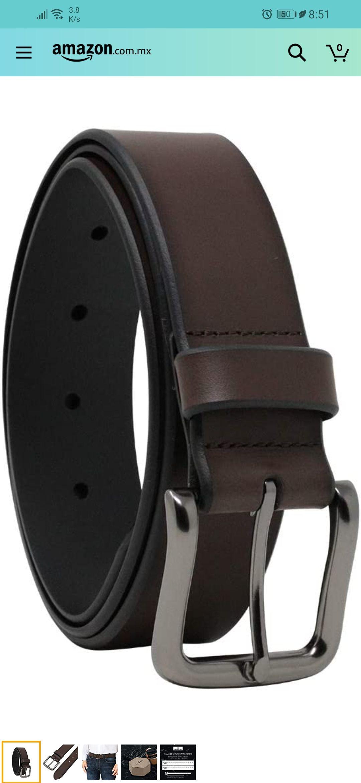 Amazon: Overwall Cinturón Casual de Cuero para Hombre + cupón de 15% de descuento - Color Café con Hebilla Clásica de Alta Calidad.