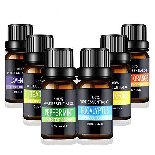Amazon: 6 aceites esenciales, lavanda, tea tree, eucalipto, limón, naranja en caja de regalo