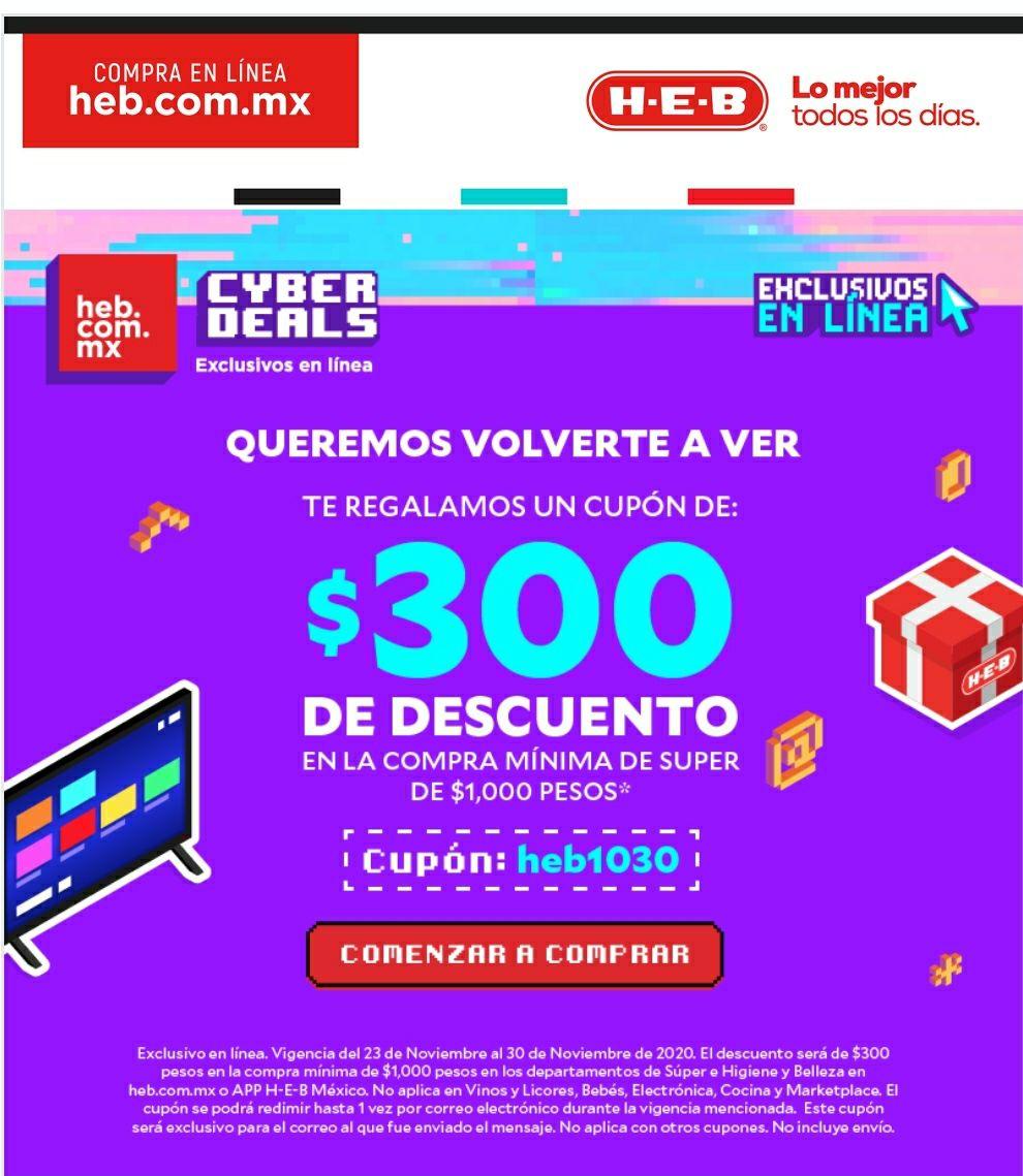 HEB: Cupon descuento de 300 pesos en compras min. de 1000 pesos en super.