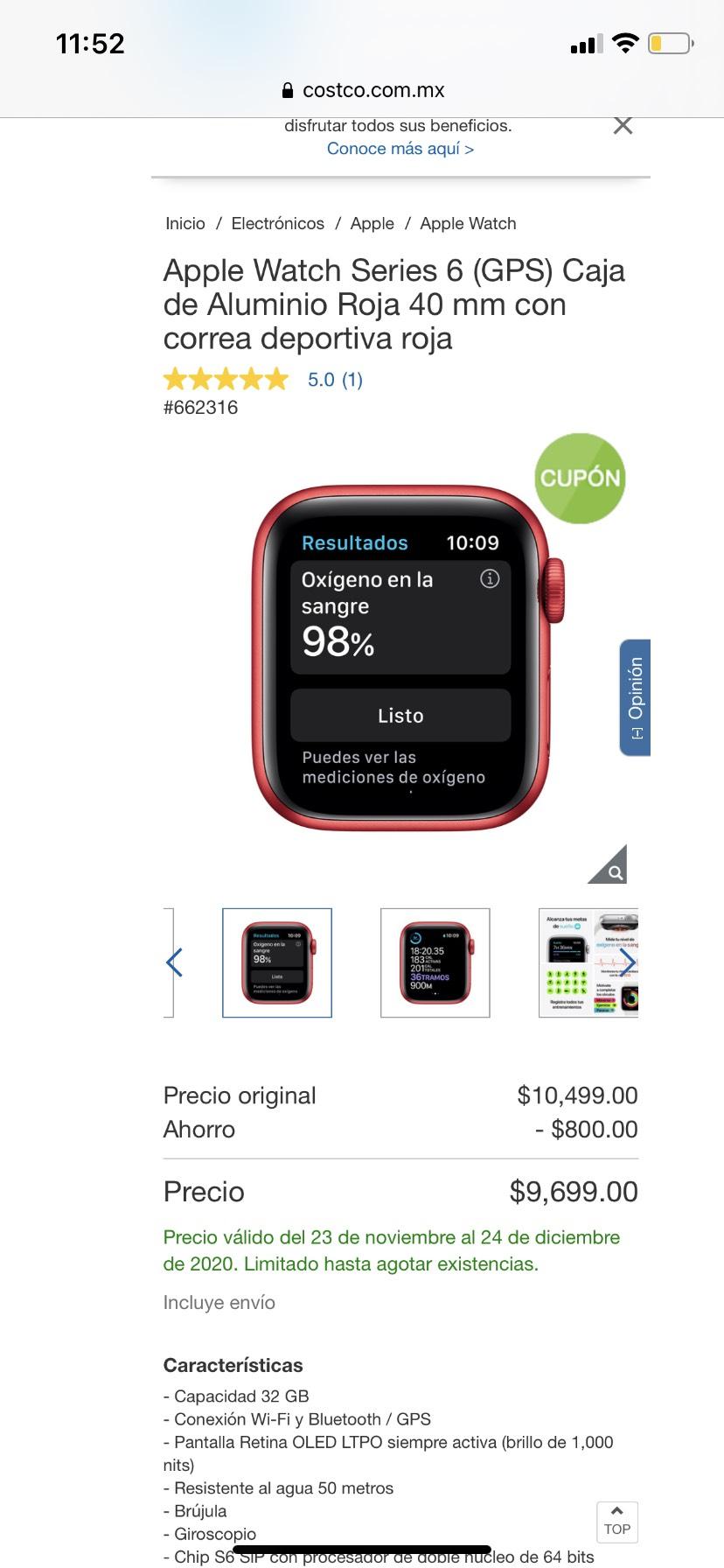 Costco: Apple Watch 40 mm serie 6