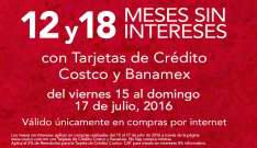 Costco en línea: 12 y 18 meses sin intereses pagando con tarjetas de crédito Costco y Banamex