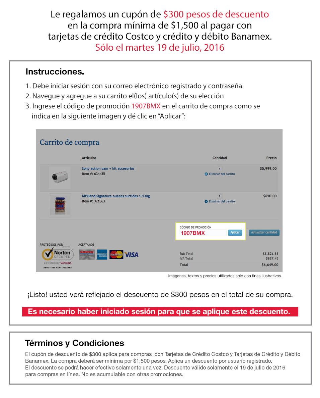 Costco en línea: cupón de $300 de descuento en compras mayores a $1,500 con Banamex