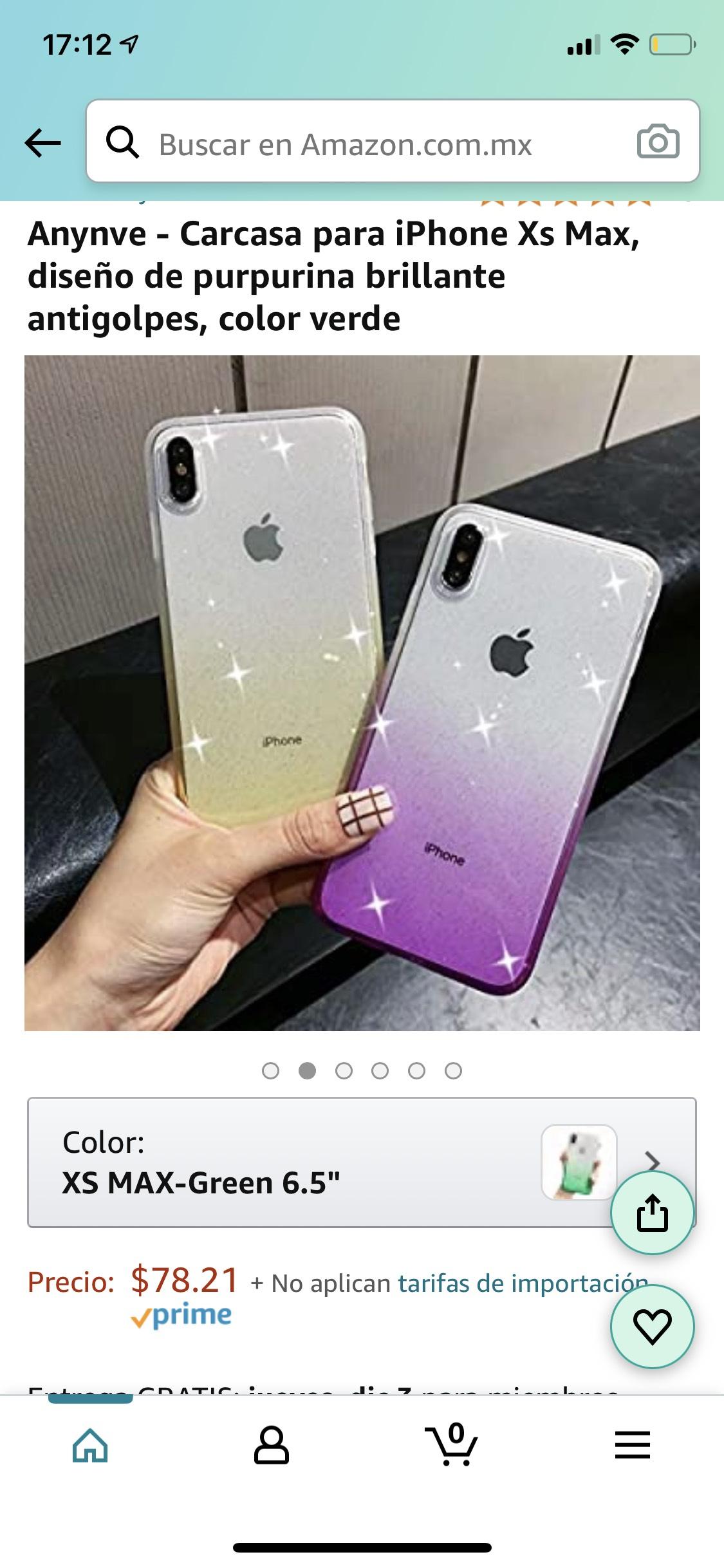 Amazon: Carcasa para iPhone Xs Max, antigolpes varios colores