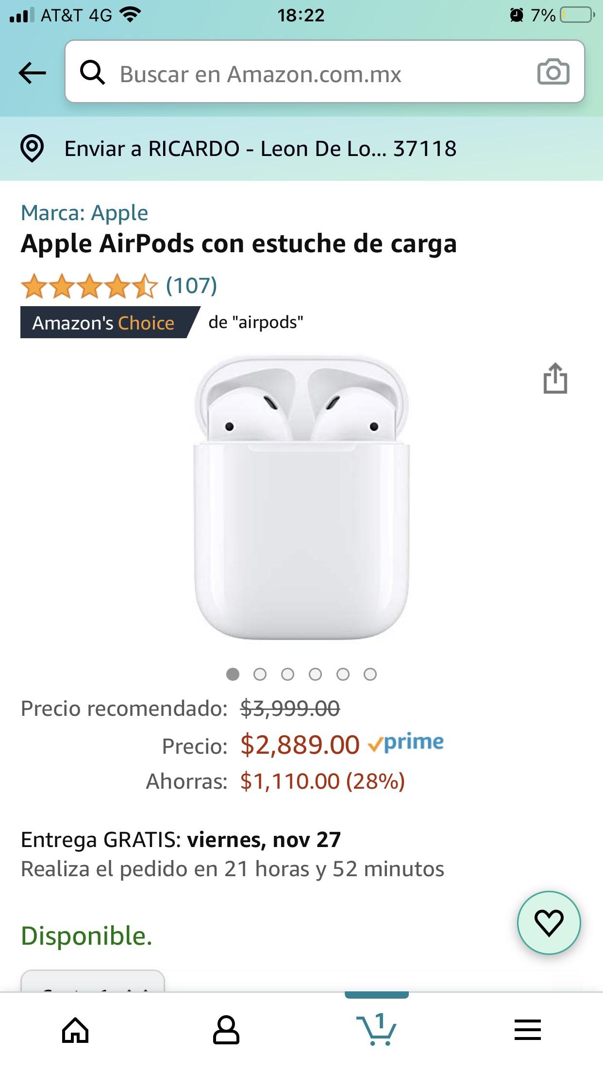 Amazon: Apple AirPods 2da. Generación 2019 (chip H1)