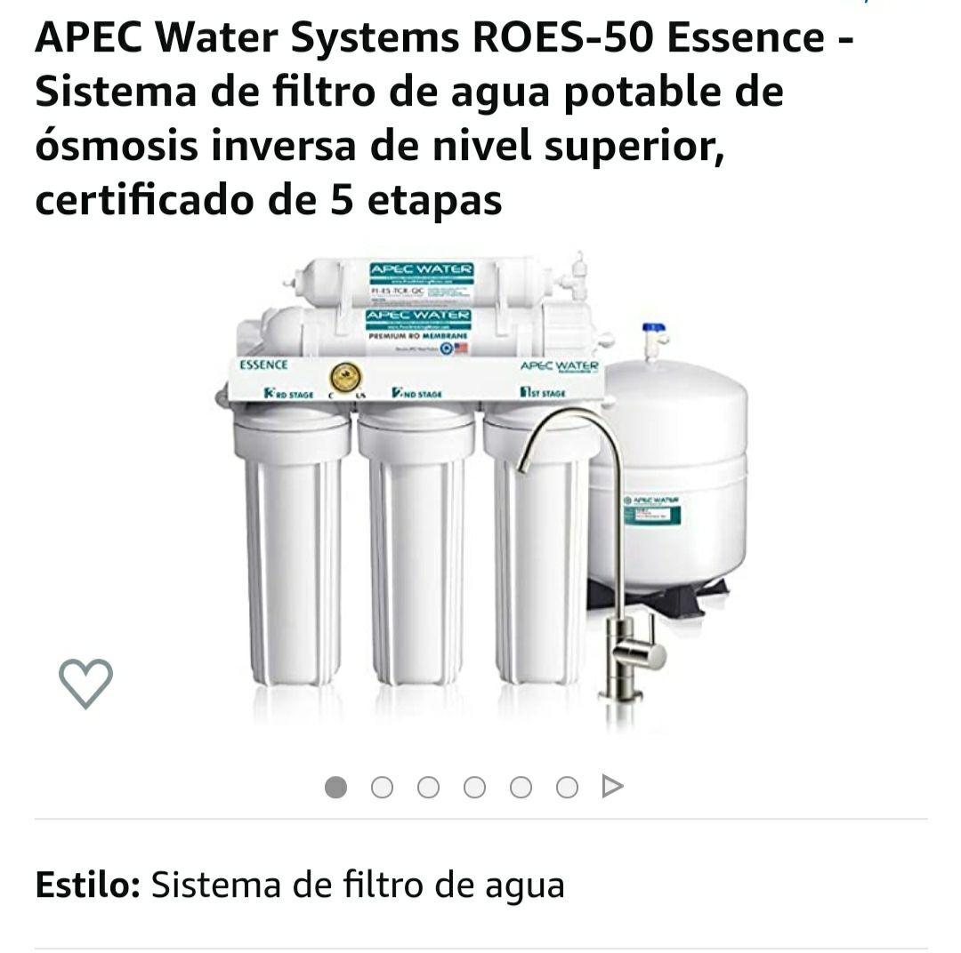 Amazon: APEC Water Systems ROES-50 Essence - Sistema de filtro de agua potable de ósmosis inversa de nivel superior, certificado de 5 etapas