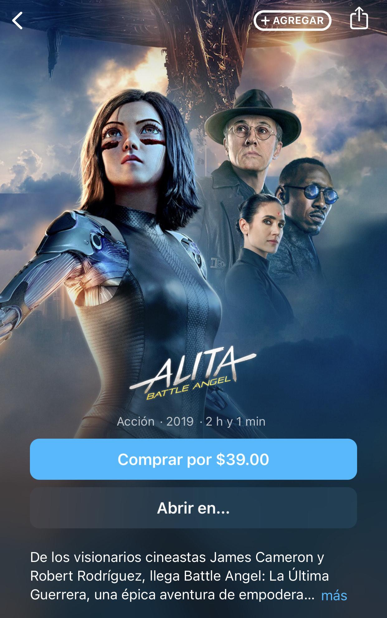 iTunes: ALITA BATTLE ANGEL 4k