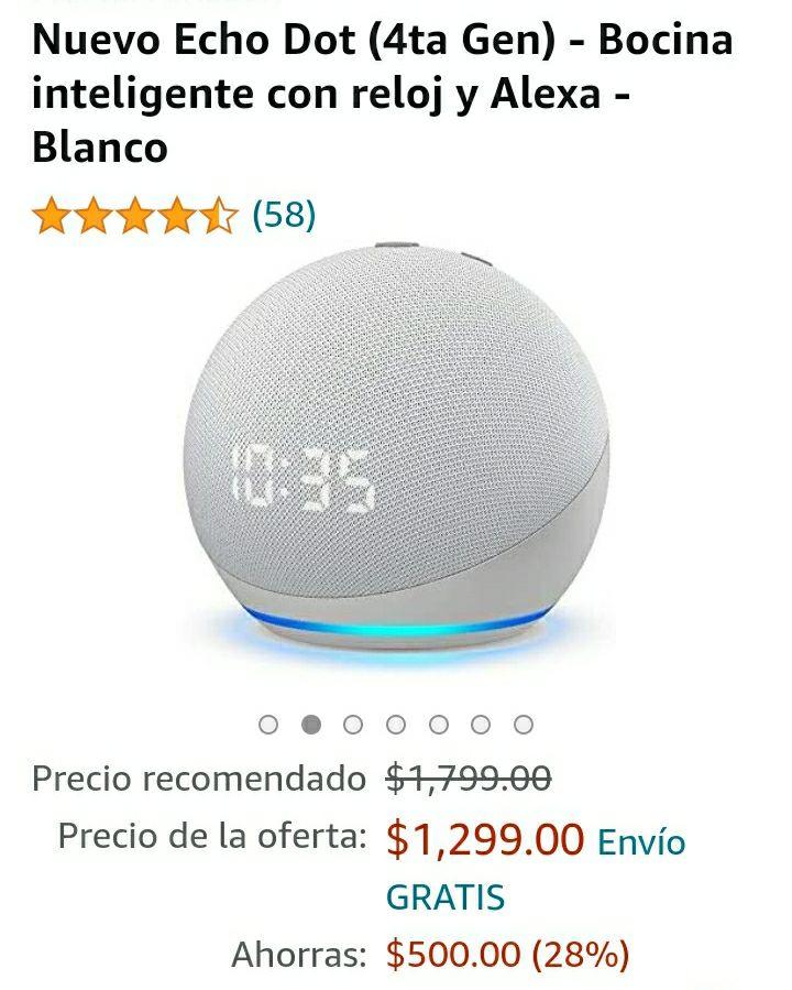 Amazon: Echo dot con reloj 4th generación + foco