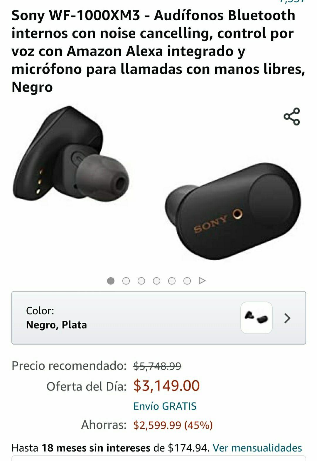 AMAZON: Audifonos Sony WF-1000XM3
