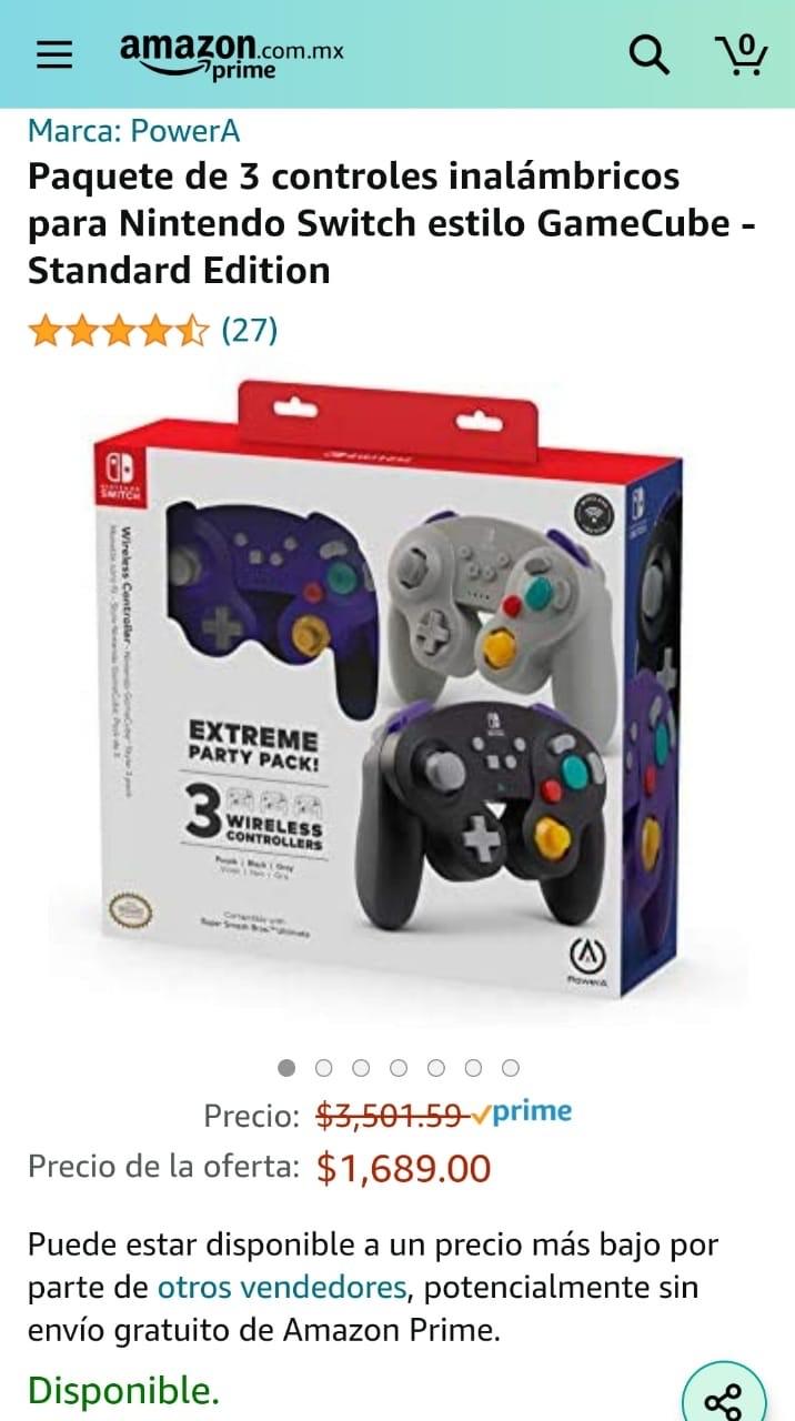 Amazon. Paquete de 3 controles inalámbricos para Nintendo Switch estilo GameCube - Standard Edition