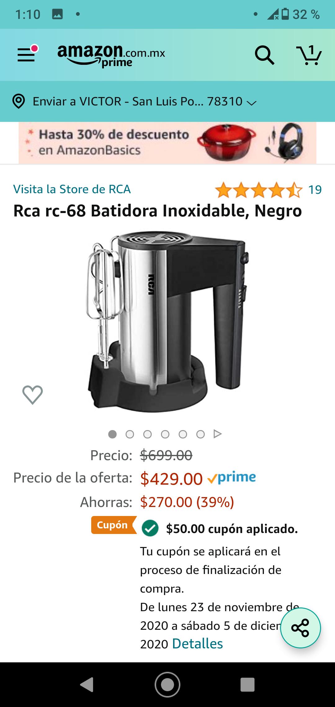 Amazon batidora inoxidable RCA - Aplica cupón de 50 para llegar al precio