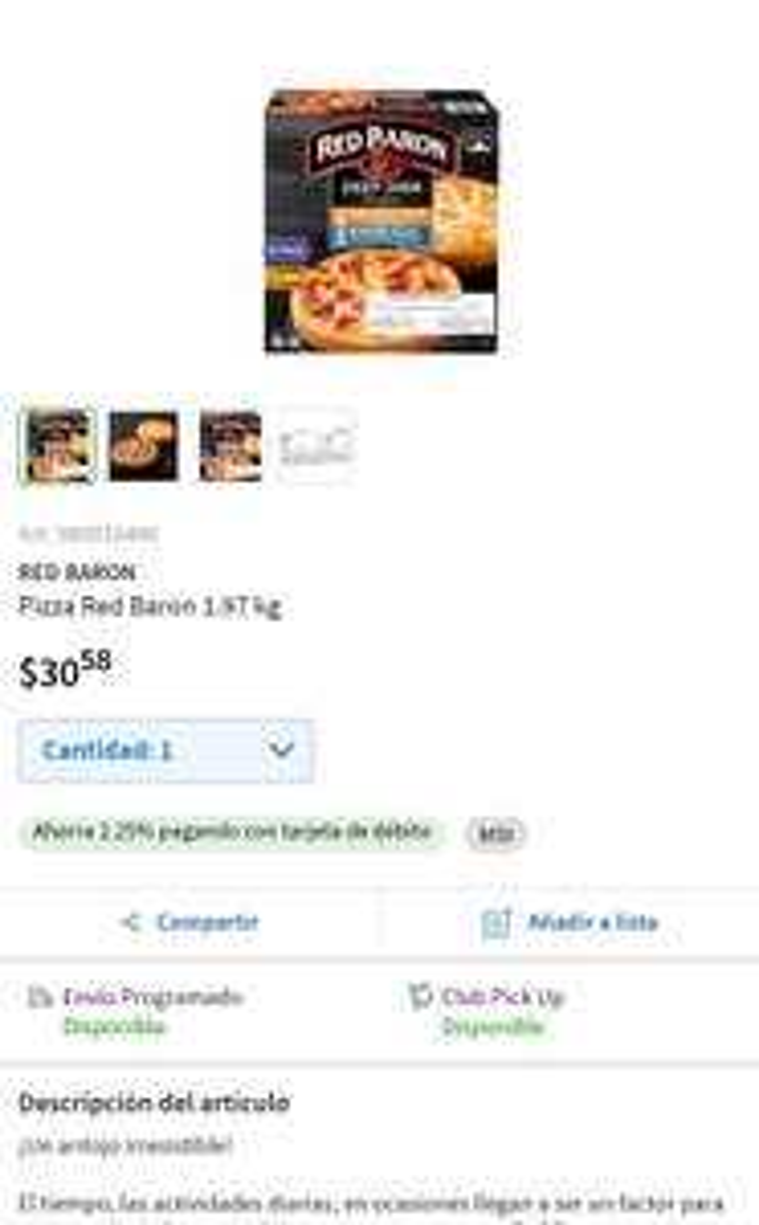 Sam's Club: Pizza Red Barón