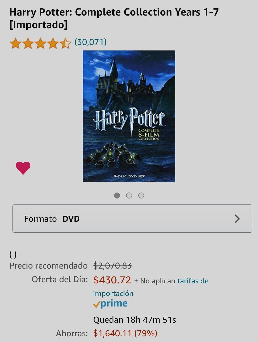 Amazon: Harry Potter Colección Completa Años 1-7 [Importado] DVD