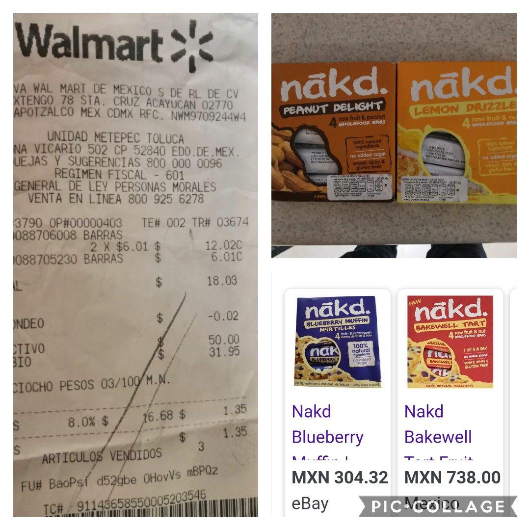 Deliciosas barritas Snack marca Nákd, en Walmart Metepec