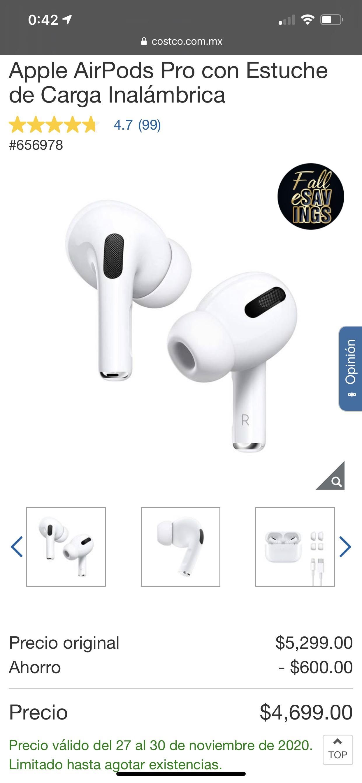 Costco Apple AirPods Pro con estuché de carga inalámbrica