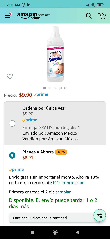 Amazon: Suavitel bebe 8.90 compra recurrente y 9.90 normal