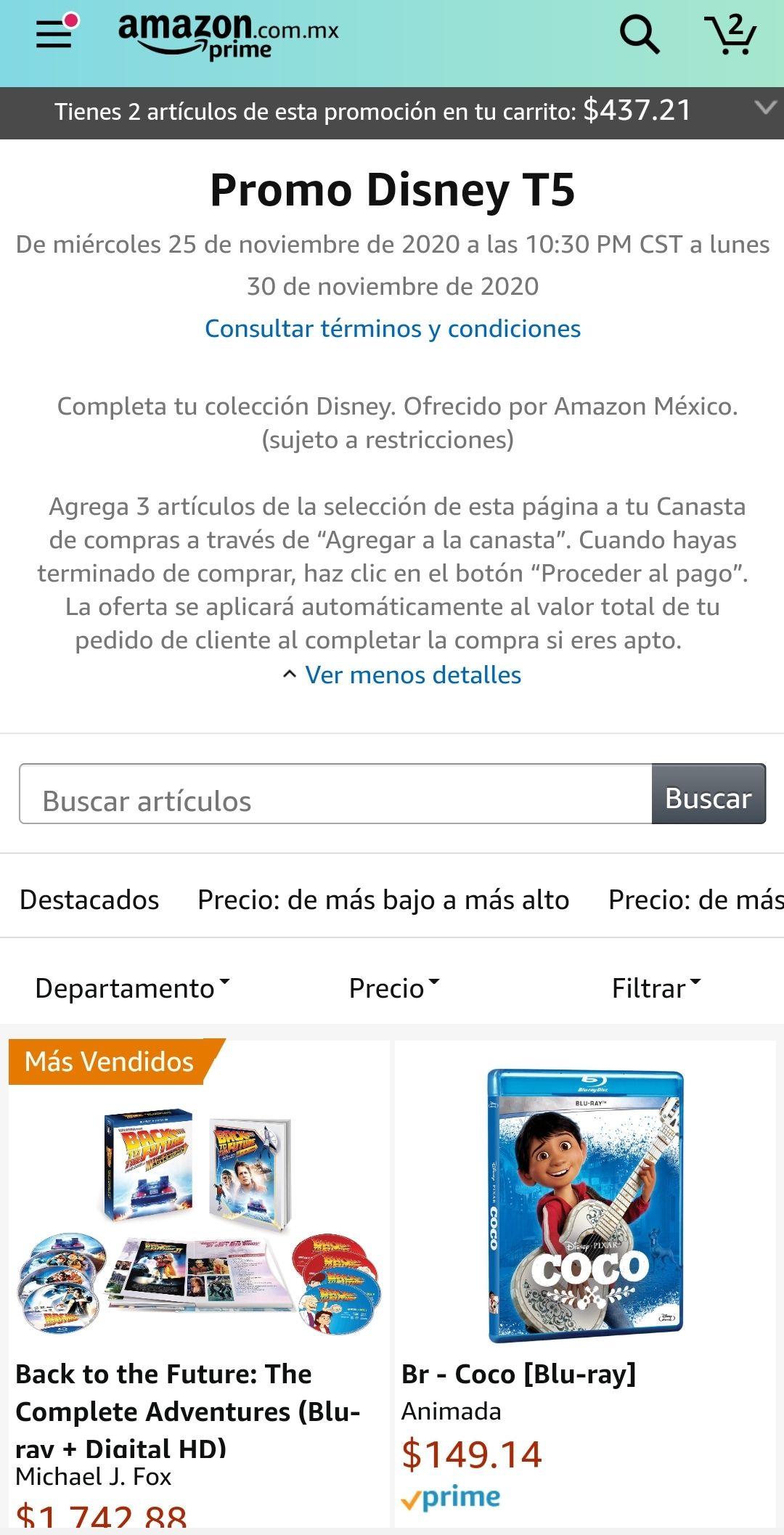 Amazon: 3x2 en Películas seleccionadas Disney