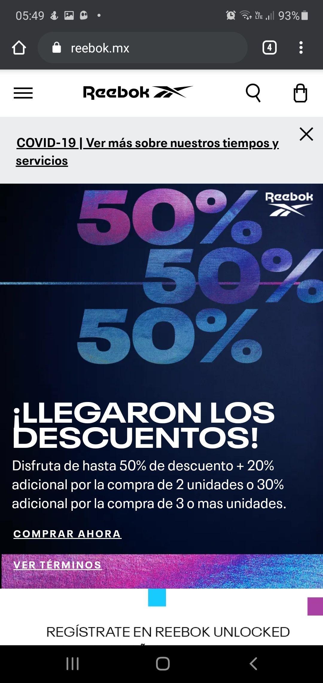 Reebok: 20% adicional comprando 2 productos y 30% adicional comprando 3 o más productos