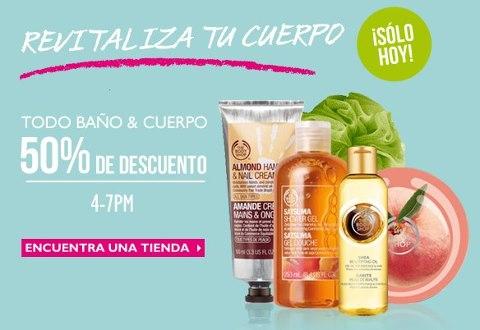 The Body Shop: 50% de descuento en productos Bath & Shower y cuidado corporal de 4 a 7