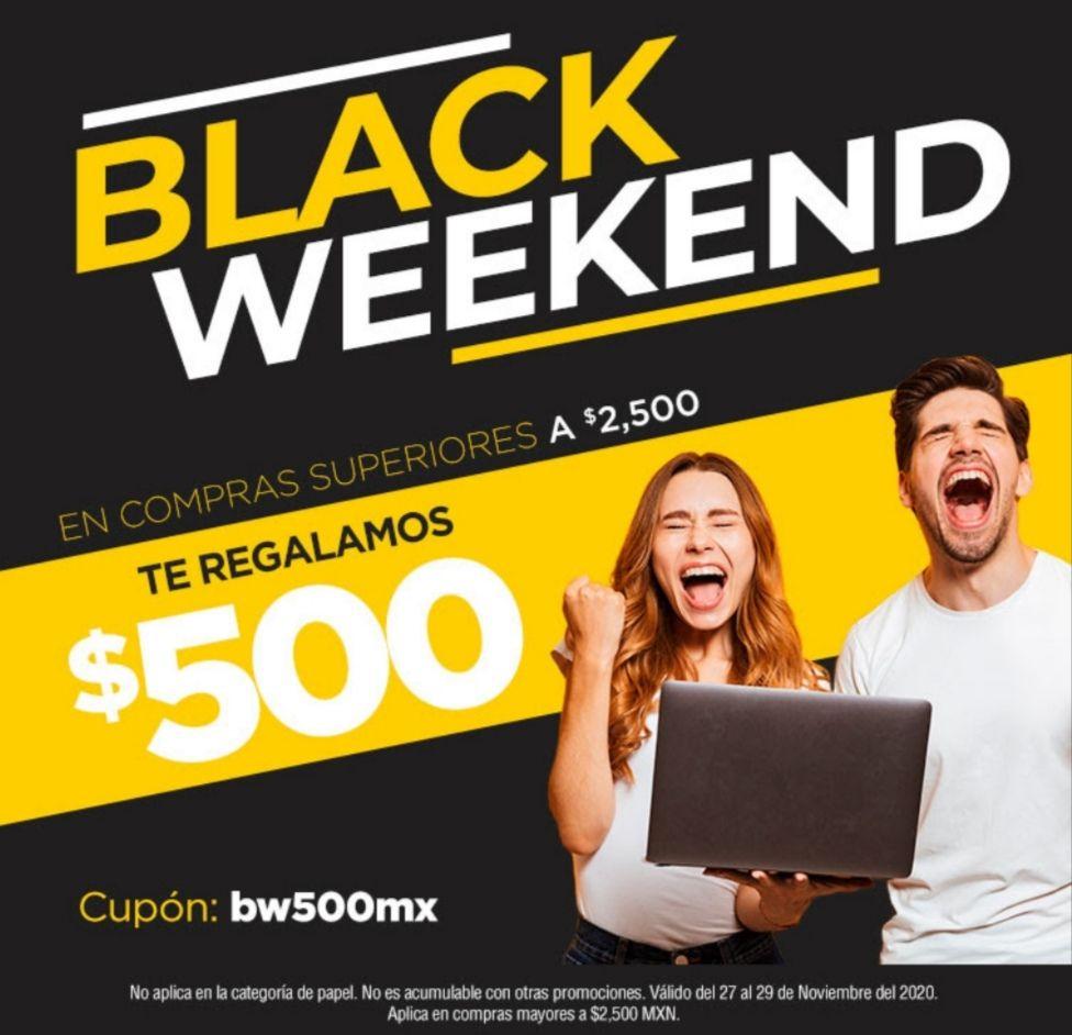 OfficeMax: Black Weekend En compras superiores a $2500 te regalan $500