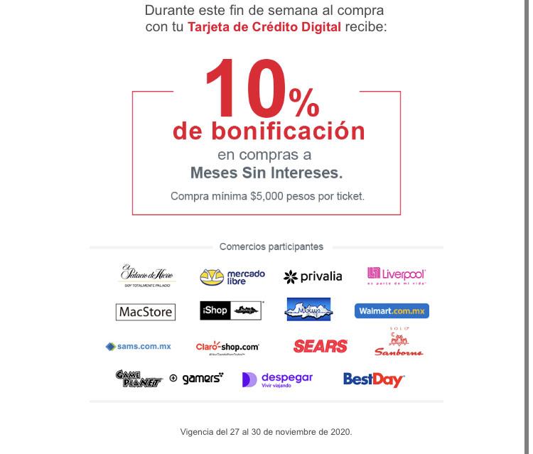 BANORTE: 10% de bonificación al pagar con tarjeta de crédito digital (Comercios participantes)