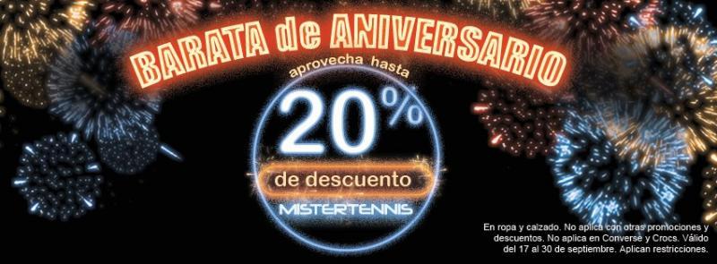 Mister Tennis: 20% de descuento en ropa y calzado por aniversario