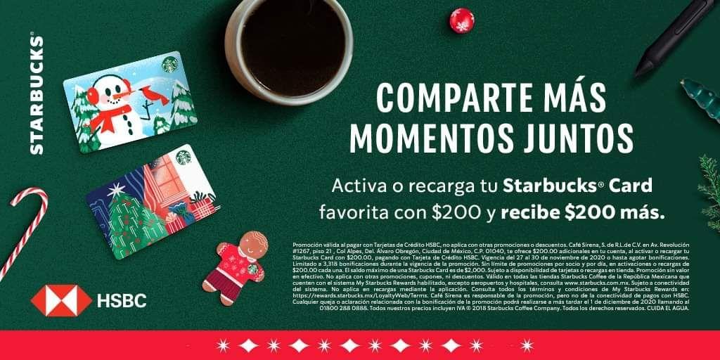 Starbucks: 200 pesos de regalo al activar o recargar tarjeta de starbucks con HSBC
