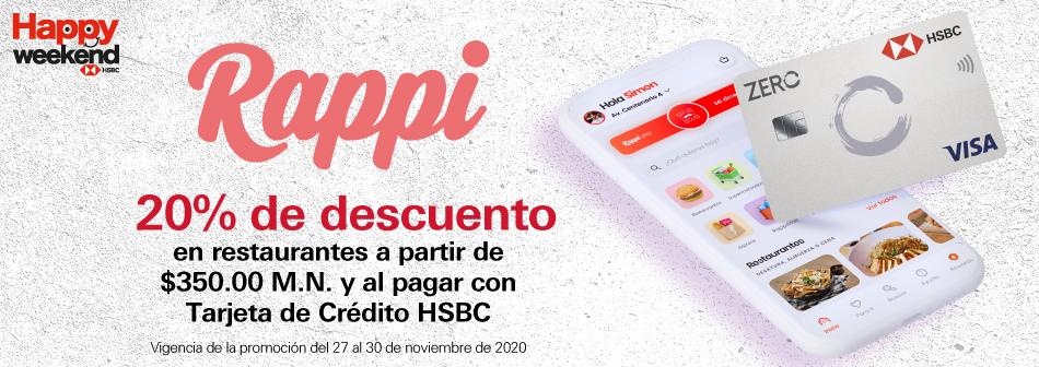 Rappi: 20% de descuento en restaurantes a partir de $350 M.N. con HSBC