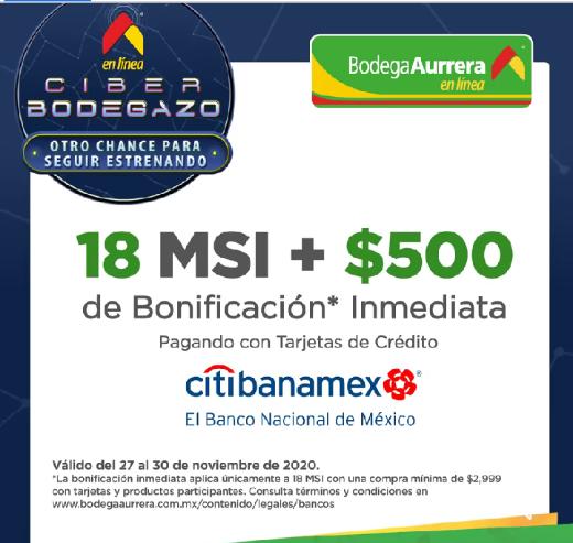 Bodega Aurrera Ciber Bodegazo: $500 de bonificación con Citibanamex en compras mínimas de $2999