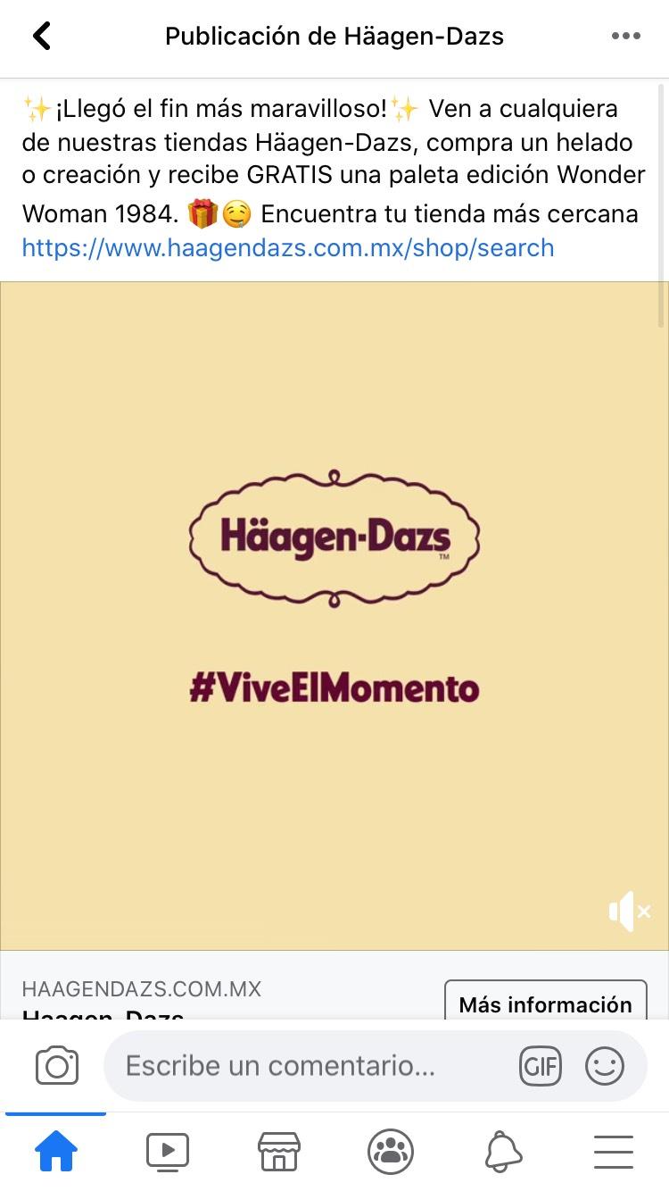 Häagen Dazs: paleta gratis en la compra de un helado