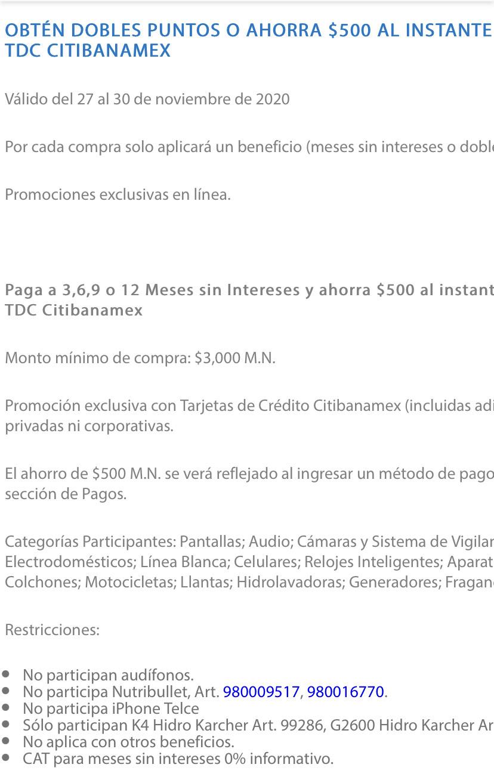Sam's Club: Bonificación de $500 pagando a 3, 6, 9 o 12 MSI con Citibanamex