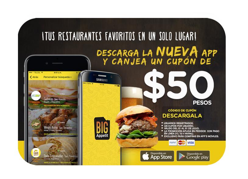 Big Appetit: cupón de $50 de descuento en compra mínima de $80