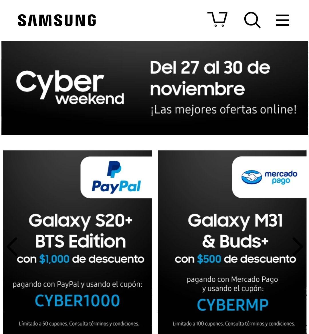 Samsung: 1000 de descuento en galaxy s20+ y 500 en audifonos