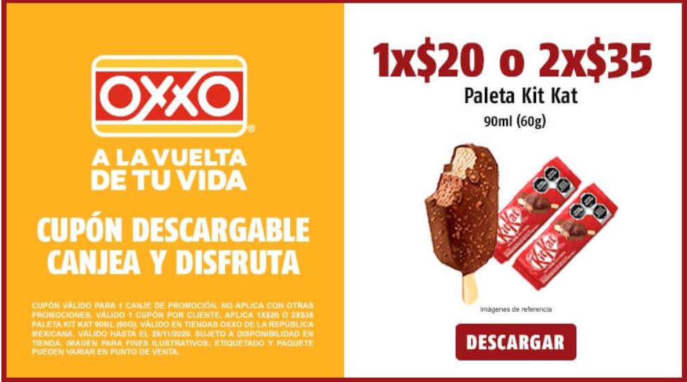 Oxxo cupón Paleta Kit Kat