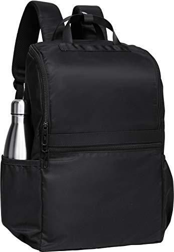 Amazon: Mochila negra lisa con 13 bolsillos, 23 litros, resistente al agua, para hombres, mujeres, universidad, viajes, escuela, trabajo