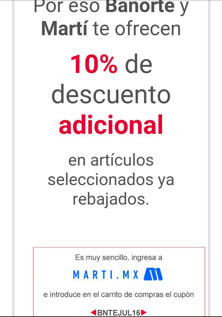 Martí: 10% de descuento pagando con tarjetas Banorte