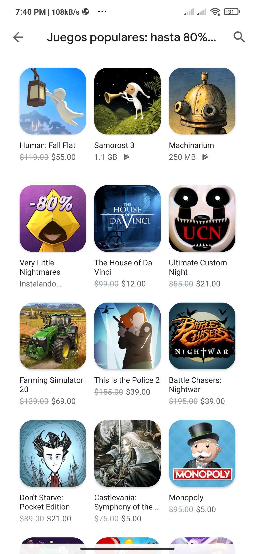 Google play: juegos con descuento por black Friday