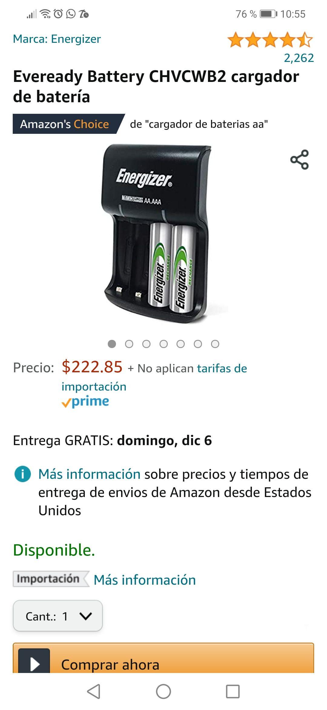 Amazon: Cargador Energizer con capacidad para 4 Pilas (sólo incluye 2 pilas AA recargable)