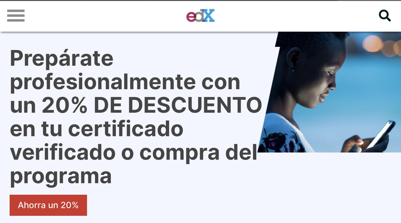 edX Descuento de 20% en certificados de Cursos y Programas
