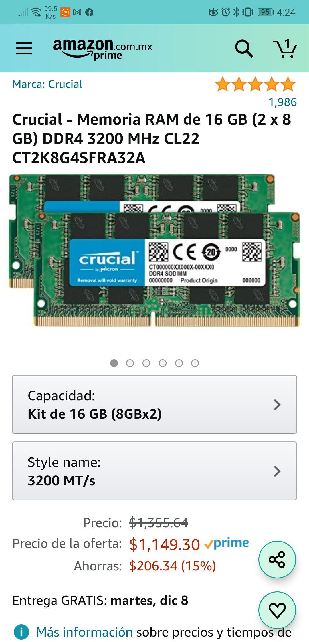 Amazon: Crucial - Memoria RAM de 16 GB (2 x 8 GB) DDR4 3200 MHz CL22 CT2K8G4SFRA32A