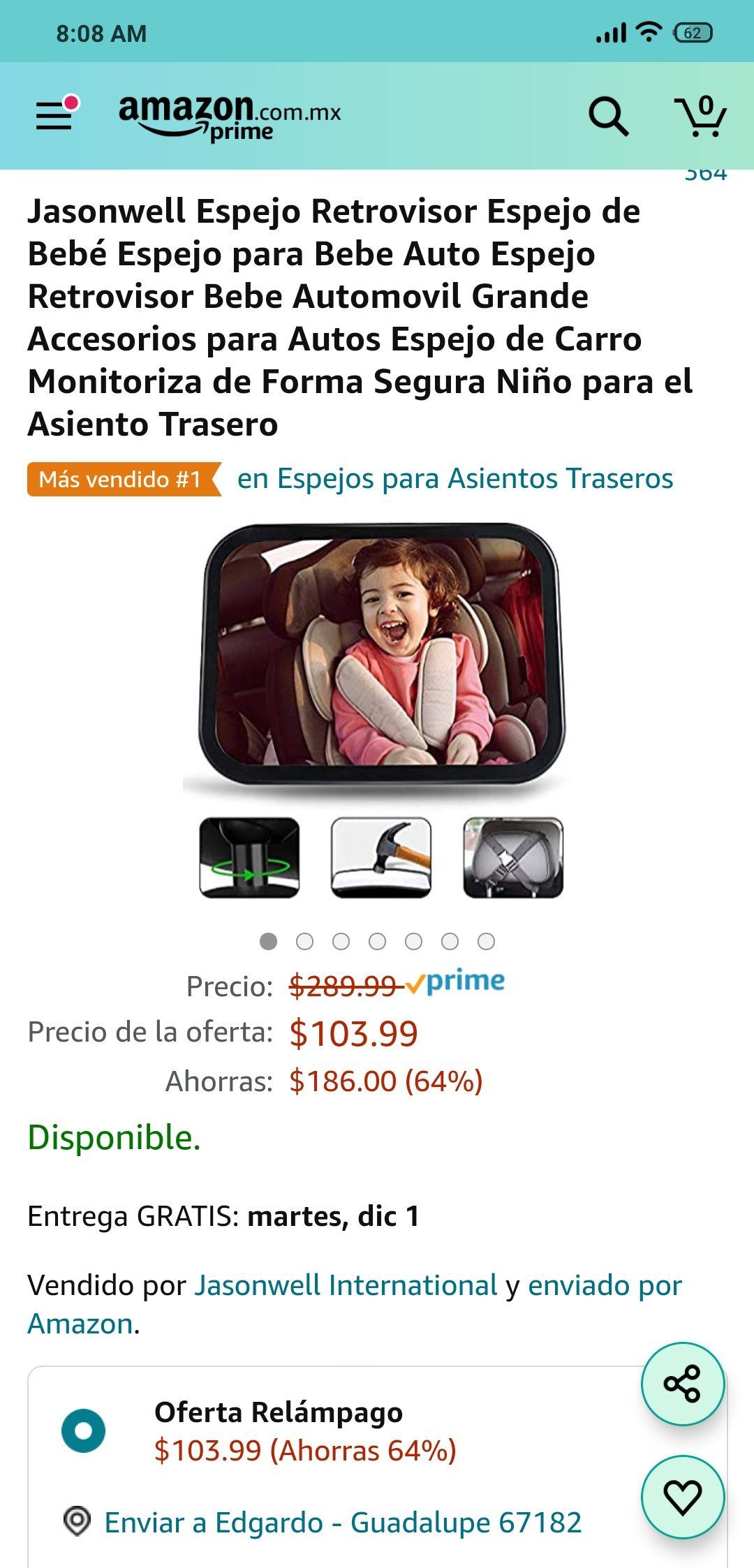 Amazon - Espejo retrovisor para bebe