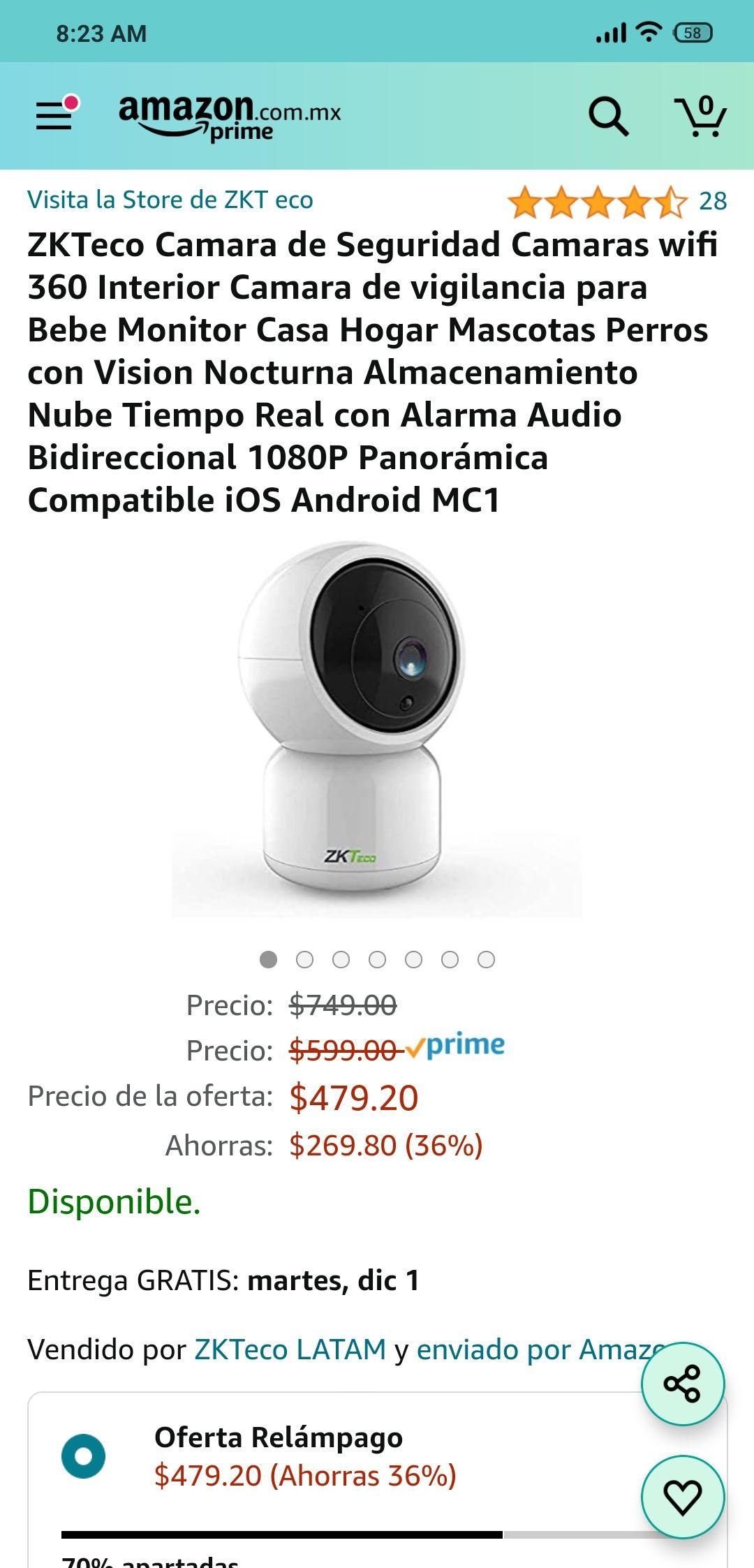Amazon - ZKTeco cámara de seguridad