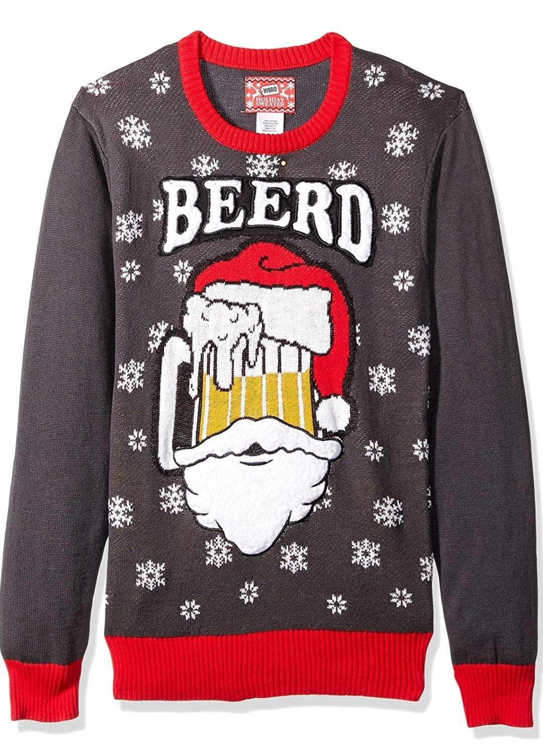 Amazon: Hybrid Apparel Suéter Feo de Navidad para Hombre, Santa Beerd/Carbón Vegetal