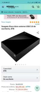 Amazon: Seagate Disco Duro Externo 8TB