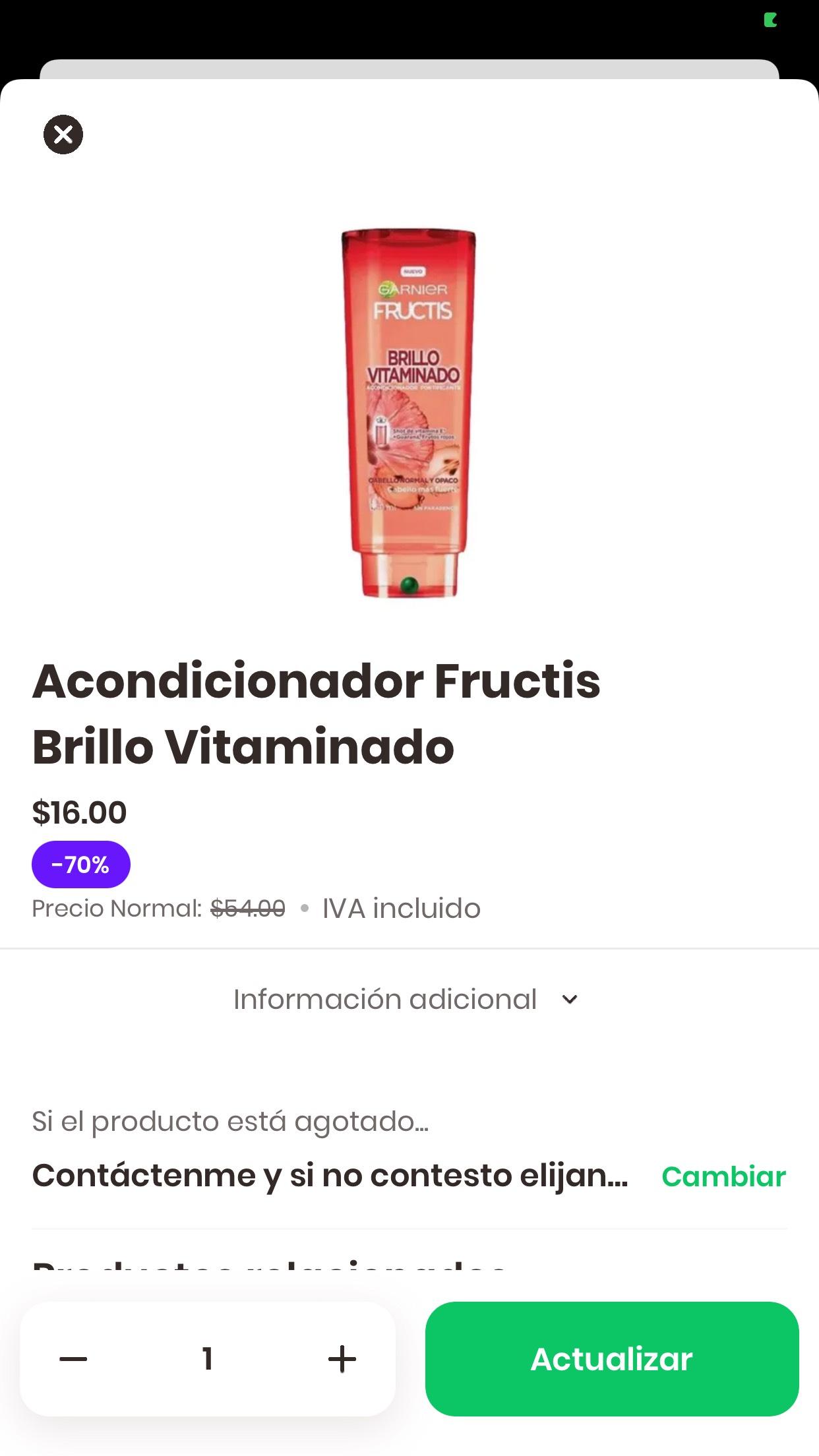 Rappi: Farmacias Benavides . Acondicionador fructis 650 ml