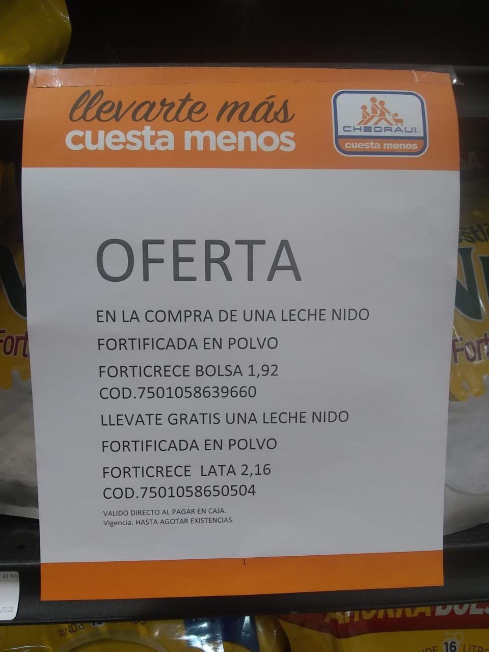 Chedraui Tepeyac: Gratis Lata de Leche Nido en la compra de una bolsa de Leche Nido