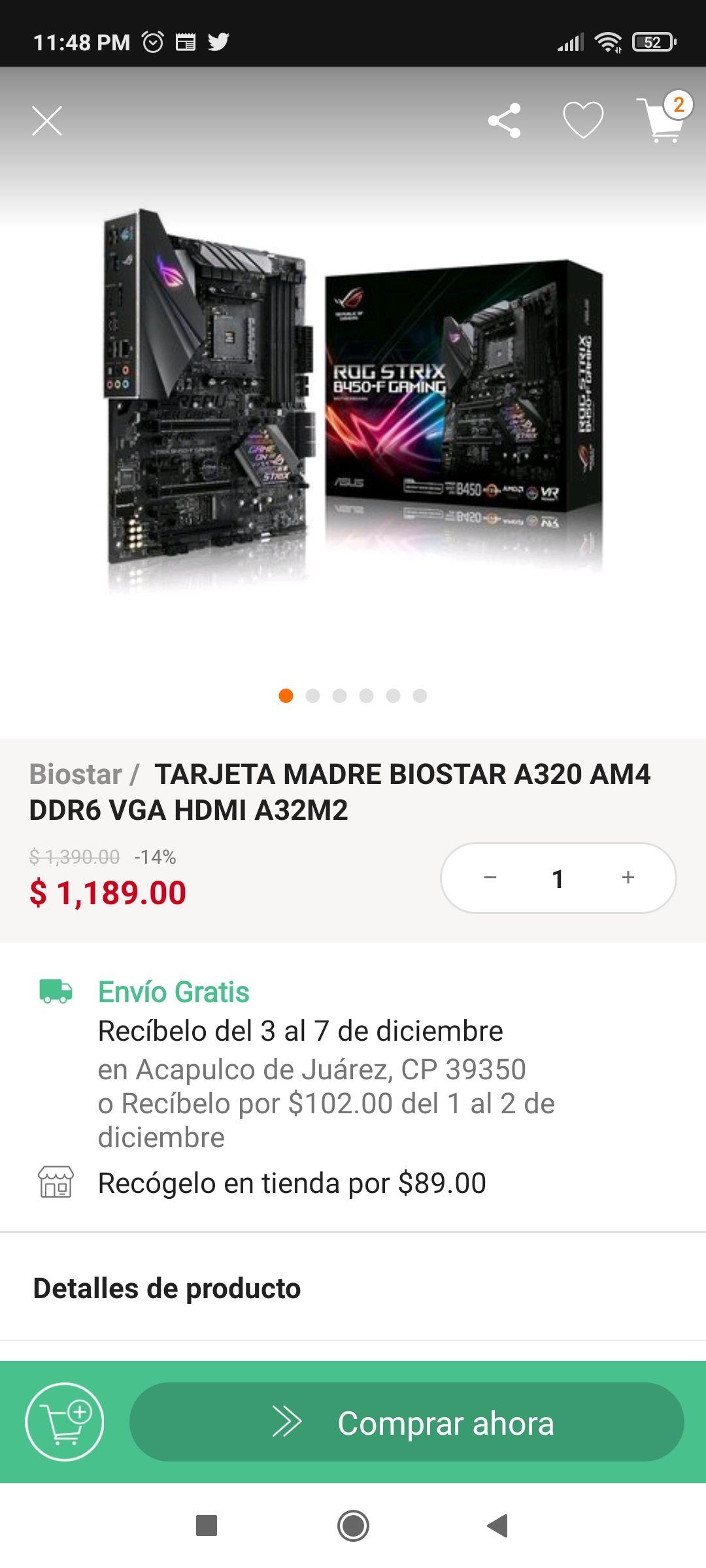 Error de linio. Tarjeta Madre Asus Rog Strix B450-f Gaming Rgb Am4 4xddr4